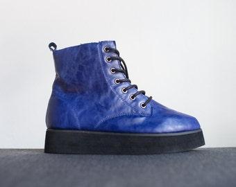 Vintage Royal Blue Faux Leather Platform Boots