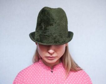 Vintage Hunter Green Fuzzy Wool Felt Fedora Hat