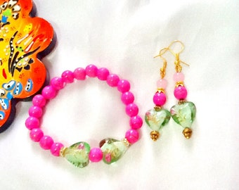 SALE---- HEARTS and FLOWERS Bracelet set - Valentines Jewelry - Lampwork Bracelet and Earrrings