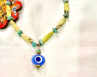 SALE --- BLUE NAZAR Necklace - Ethnic jewelry - Gypsy jewelry - Turkish Necklace