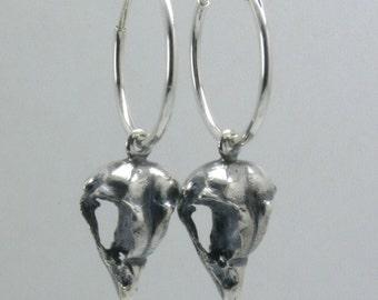 Tiny Owl Skull Earrings, Sterling Silver