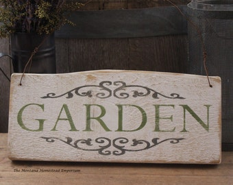 GARDEN sign Vintage looking Weathered sign shabby chic cottage garden rose garden formal garden yard sign farmhouse decor Montana wood sign