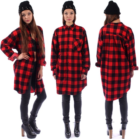 Red buffalo plaid flannel shirt 90s grunge red by for Red buffalo flannel shirt