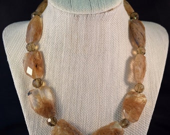 """Agate necklace 18"""" Length  Taupe Color"""
