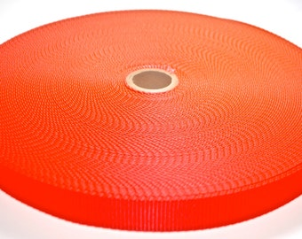 """1"""" Neon Orange Nylon Heavy Weight Webbing - Two or Five Yards - More Available"""