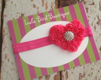Heart with Rhinestone Accent Headband - Infant, Newborn, Toddler, Little Girl - Valentines Day - Photo Prop - READY TO SHIP