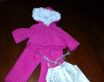 Pink fleece 3 piece outfit for American Girl Doll