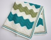 Retro Wool Crochet Chevron Ripple Pattern Pram Cot Crib Nursery Car Baby Blanket in Three Colours Ready to Ship hand made for boy or girl
