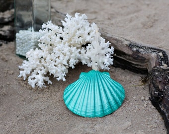 Beach Christmas Ornament - Beach Decor Scallop Shell Holiday Ornaments -  Set of 3 Metallic Turquoise  Ornaments