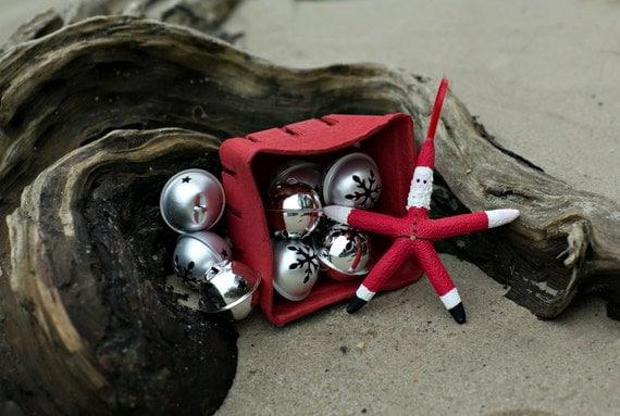 Beach Christmas Ornament - 3 Beach Decor Santa Ornaments - REAL Starfish - Set of 3 Starfish Ornaments - Nautical Ornaments