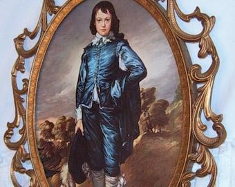 40% Off, Vintage, Blue Boy, Brass Frame, Italian Frame, Ornate Frame
