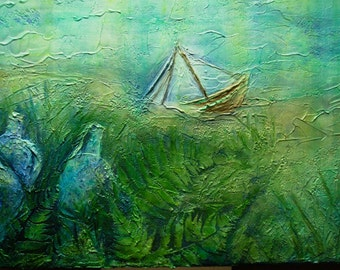 Sunken Ship, an original acrylic paint and medium on stretched canvas.
