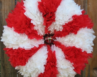 Christmas Wreath - Holiday Wreath - Red and White Wreath - Candy Cane Wreath - Outdoor Wreath - Door Wreath - Winter Wreath