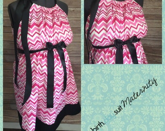 Maternity Hospital gown: pink and white chevron, black band
