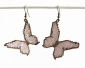 Earrings Fluttering Butterflies, Delica bead weaved earrings in bronze pink and snow white