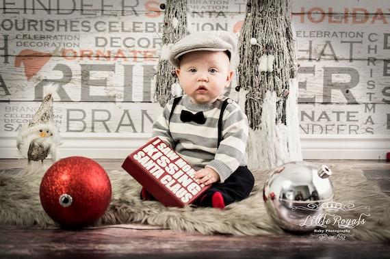 NEW ITEM 5ft x 5ft Vinyl Photography Backdrop / Custom Photography Prop / Christmas / Holiday Text Wood Texture