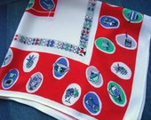 Rockabilly Kitchen Vintage 50s Tablecloth Gorgeous Retro Graphics Red Blue Green & Grey on White Appears Unused