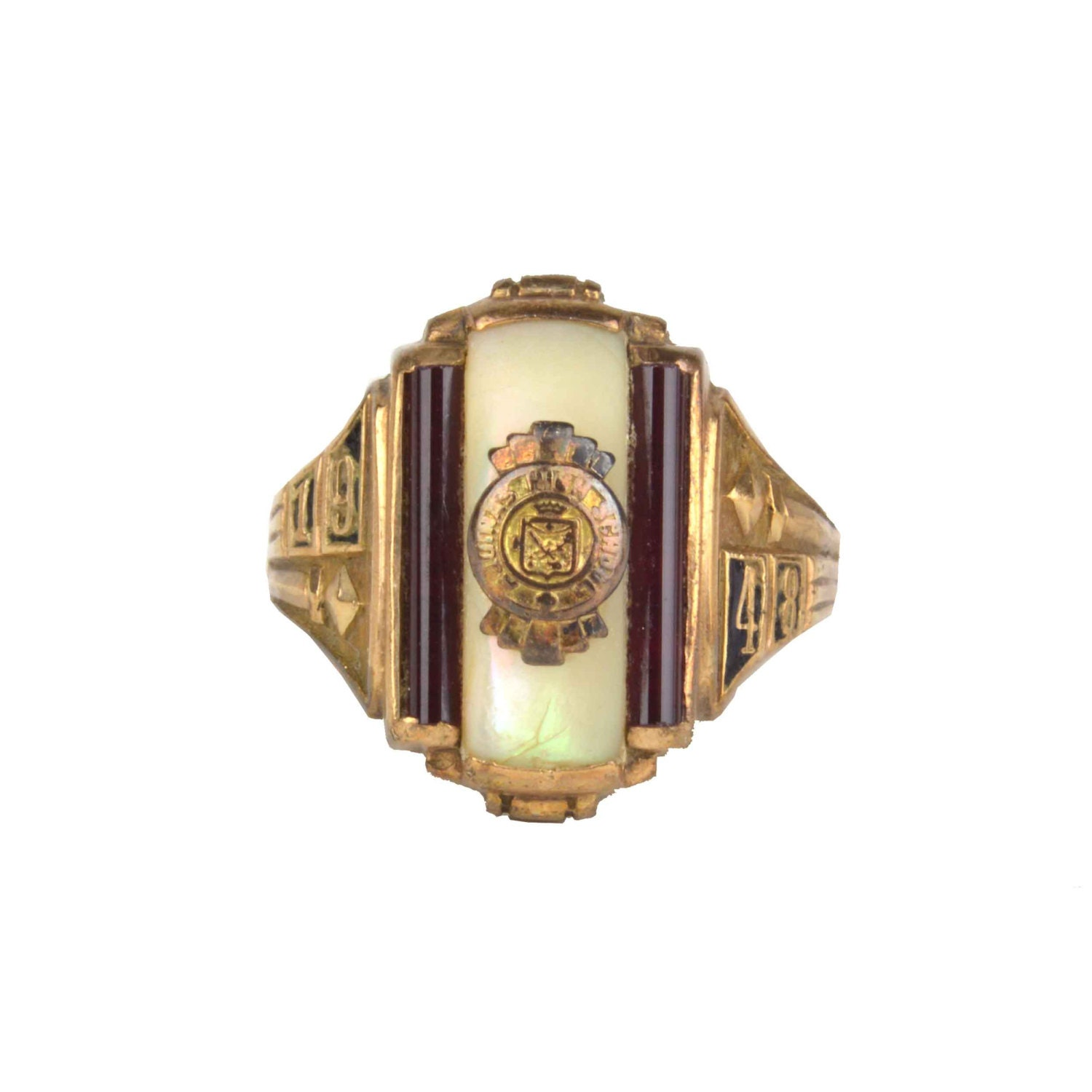 Vintage 1948 10k Gold Class Ring Mother of Pearl & Garnet