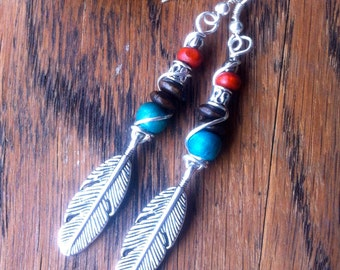 Boho Feather Earrings, Wire Wrapped Beaded Feather Earrings, Beaded Jewelry, Feather Earrings, Boho Hippie Gypsy