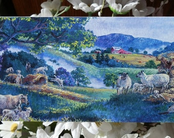 5 pack of Cool Sheep blank-on-the-inside notecards