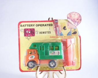 Truck Dump Battery Vintage Operated Toy New Working 1980s Work Orange