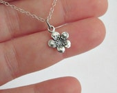 Plum blossom flower necklace STERLING SILVER simple everyday jewelry flower charm feminine spring summer botanical floral necklace layering