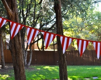 Circus tent stripe fabric pennant banner bunting, Carnival red & white stripe flag banner, birthday party decor, playroom decor, photo prop