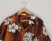 Vintage Mens Hawaiian Shirt Rayon Brown White Hibiscus 1970s Extra Large