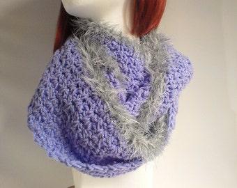Lavender Crochet Endless Scarf - Circle Scarf - Silver Grey Faux Fur Trim