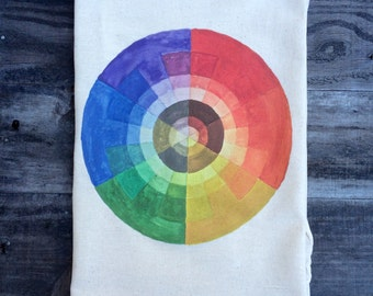Watercolor Color Wheel Flour Sack Tea Towel