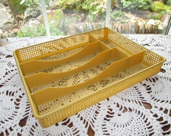Vintage Plastic Mesh Flatware Tray - Harvest Gold