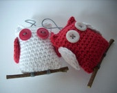 Crocheted christmas owls  Set of 2 re and white