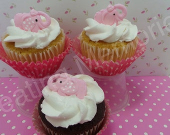 FONDANT ELEPHANT TOPPERS - edible elephant toppers for cupcakes or cake decorations or event for cookies.