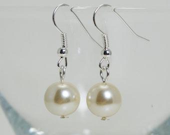 Pearl Dangle Earrings, Simple Pearl Earrings, Custom Color Earrings, Pearl and Crystal Earrings, Dangle Earrings, Pearl Bridal Jewelry.