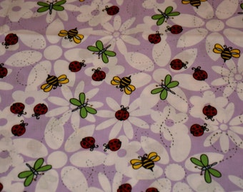 "New Flowers, Butterflies, Lady Bugs and Bumble Bees fabric 100% Cotton 36""L x 43""W"