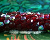 4mm Firepolished , Czech Glass Fire Polished Beads, Ruby AB Beads, Czech Glass Beads, Fire Polished Beads, Faceted Beads  CZ-408