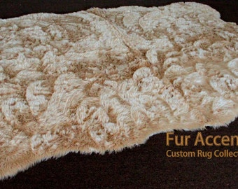 Faux Fur Accent Rug - Random Shape Sheepskin Area Rug - Scalloped Edges- by Fur Accents