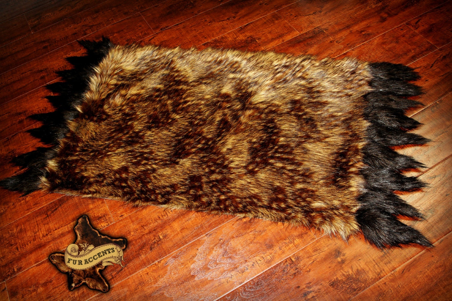 Faux Fur Accent Rug Bear Skin Area Rug With Coyote Tail