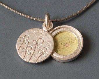 Small picture locket sterling silver, Photo locket, mabotte locket, handmade locket, field of flowers, Round Locket