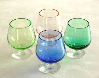 4 Antique Glasses, Blue Green Lime and Peach Cordials