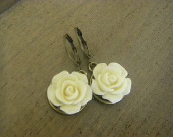 Ivory Rose Earrings Cream Rose Earrings Bridal Earrings Bridesmaid Jewelry Bronze Ivory Wedding Jewelry