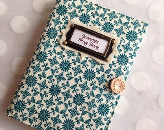 Photo Album Personalized Brag Book - Teal Fabric - holds 48 Pictures