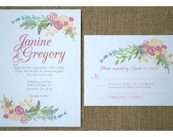 Boho Flowers Wedding Invitation - Boho Vintage Style - Spring Colors - Garden Barn Wedding Invite - Romantic Flowers Calligraphy Font