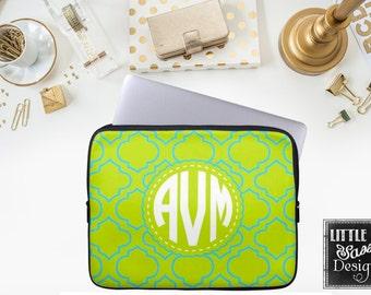 Personalized Computer Case Laptop Macbook Sleeve IPad notebook Sleeve Quatrefoil