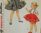 Simplicity 4775 girls' jumper pattern, circle skirt pattern,  breast 21 pattern, waist 20 pattern, easy skirt pattern, girls suspenders