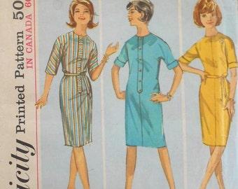 SALE Simplicity 5088 front placket dress pattern, bust 32, easy dress pattern, belted dress, 1960s pattern, kimono sleeve dress