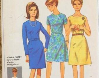 Simplicity 7501 basic dress pattern, bust 46 pattern, round neckline dress, plus size pattern, back zip dress, XL dress pattern, 1X pattern