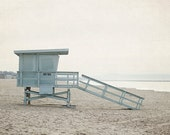 California Photography, Beach House Decor, Blue and Tan Artwork, Lifeguard Stand Picture, Modern Photograph