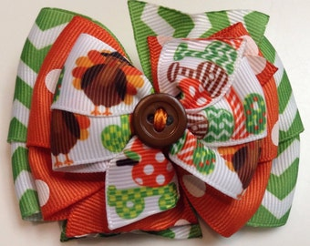 Turkey THANKSGIVING Gobble Brown Green Chevron Orange Polka Dot Fall Harvest Stacked Boutique Style Ribbon Bow Handmade for PETS Dog Collar