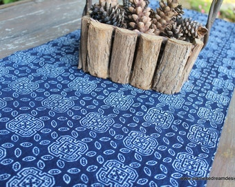 Table Runner In Hmong Indigo Batik Cotton 60 Inches or 94 inches ** Free worldwide shipping **